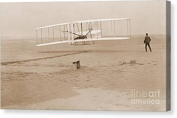 Wright Brothers First Powered Flight Canvas Print by Padre Art