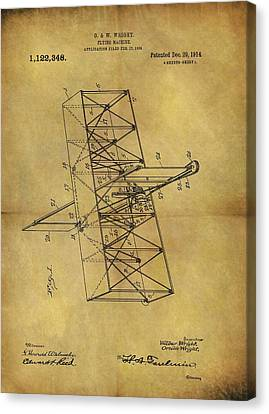 Wright Brothers Flying Machine Patent Canvas Print by Dan Sproul