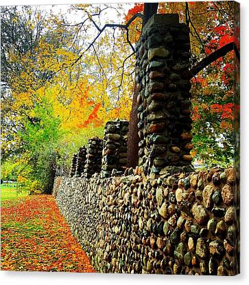 Wright Park Stone Wall In Fall Canvas Print by Chris Brown
