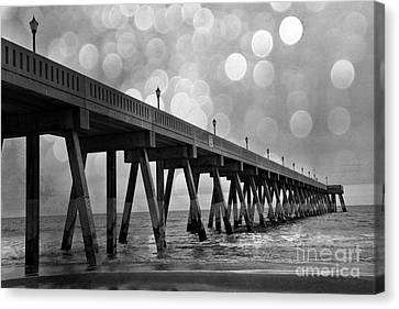 Wrightsville Beach North Carolina Ocean Fishing Pier Black And White Photography Canvas Print by Kathy Fornal