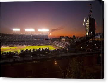 Wrigley Field At Dusk Canvas Print by Sven Brogren