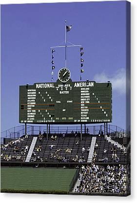 Wrigley Field Classic Scoreboard 1977 Canvas Print by Paul Plaine