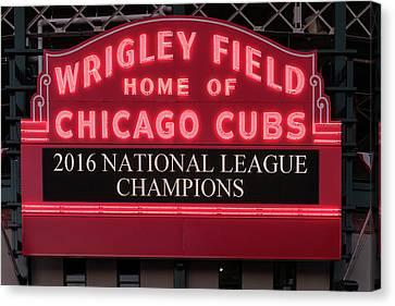 Wrigley Field Marquee Cubs Champs 2016 Front Canvas Print by Steve Gadomski