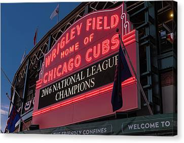 Wrigley Field Marquee Cubs National League Champs 2016 Canvas Print by Steve Gadomski