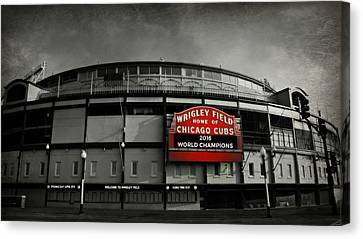 Baseball Canvas Print - Wrigley Field by Stephen Stookey