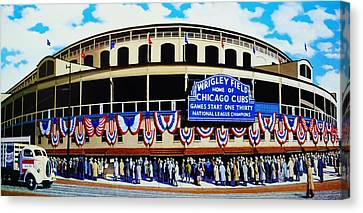 Wrigley Field Canvas Print by T Kolendera