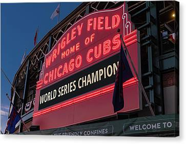 Wrigley Field World Series Marquee Canvas Print by Steve Gadomski