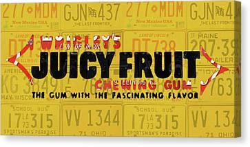 Wrigleys Juicy Fruit Gum Recycled Vintage Illinois License Plate Art Canvas Print by Design Turnpike