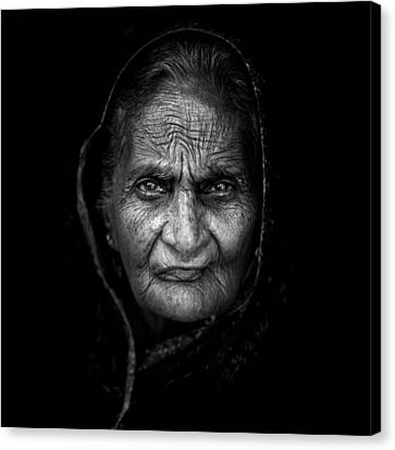 Indian Portraits Canvas Print - Wrinkles by Mohammed Baqer