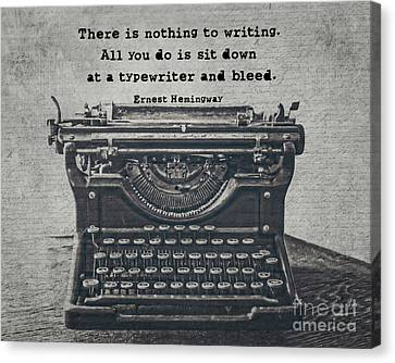 Typewriter Canvas Print - Writing According To Hemingway by Emily Kay