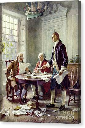 Independance Canvas Print - Writing The Declaration Of Independance by Jean Leon Ferris