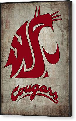 Football Canvas Print - W S U Cougars by Daniel Hagerman