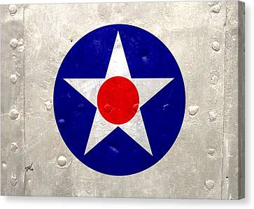 Canvas Print featuring the digital art Ww2 Army Air Corp Insignia by John Wills