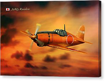 Ww2 Imperial Japanese Fighter J2m3 Raiden Canvas Print by John Wills