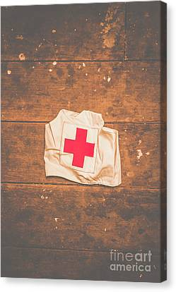 Ww2 Nurse Cap Lying On Wooden Floor Canvas Print by Jorgo Photography - Wall Art Gallery
