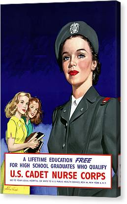 Ww2 Us Cadet Nurse Corps Canvas Print by War Is Hell Store