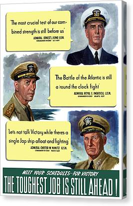 Ww2 Us Navy Admirals Canvas Print by War Is Hell Store