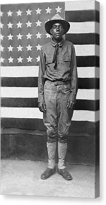 Wwi African American Soldier Canvas Print by Underwood Archives