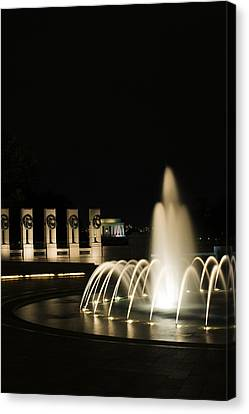 Canvas Print featuring the photograph Wwii Memorial Fountain by Angela DeFrias