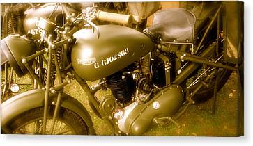 Wwii Triumph Despatch Rider Motorcycle Canvas Print by John Colley