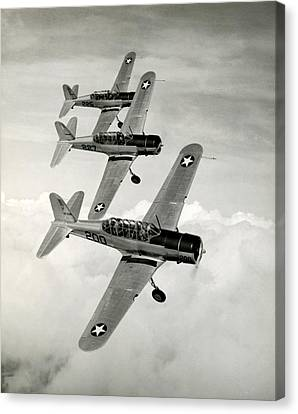 Vultee Bt-13 Valiant Canvas Print - Wwii Vultee Valiant Aircraft In Flight by Historic Image