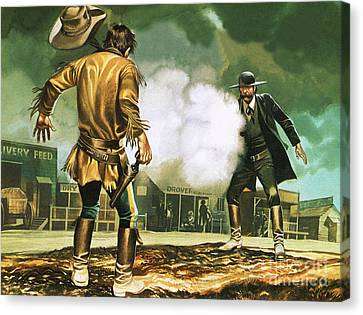 Wyatt Earp At Work In Dodge City Canvas Print by Ron Embleton