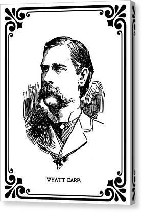 Wyatt Earp Newspaper Portrait  1896 Canvas Print by Daniel Hagerman