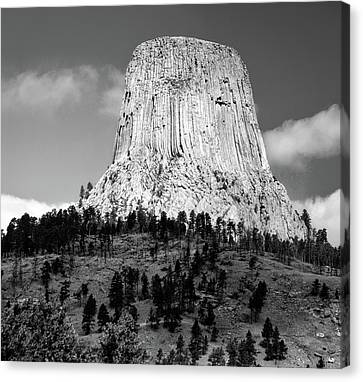 Climbing Canvas Print - Wyoming Devils Tower National Monument With Climbers Bw by Thomas Woolworth