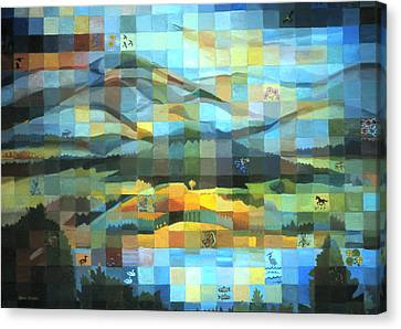 Canvas Print featuring the painting Wyoming Quilt by Dawn Senior-Trask