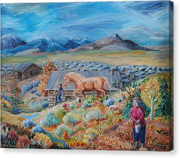 Wyoming Ranch Scene Canvas Print