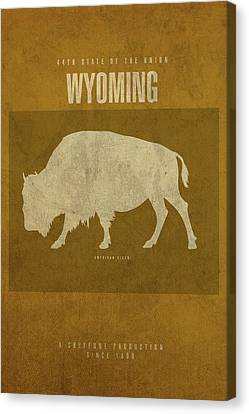 Wyoming State Facts Minimalist Movie Poster Art Canvas Print