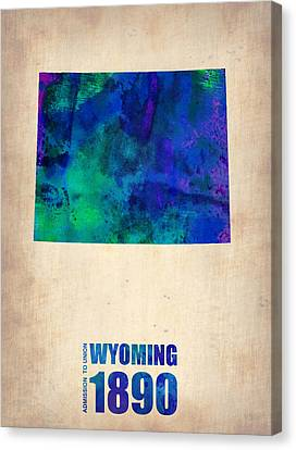 Wyoming Watercolor Map Canvas Print by Naxart Studio