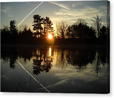 X Marks The Spot Sunrise Reflection Canvas Print by Kent Lorentzen
