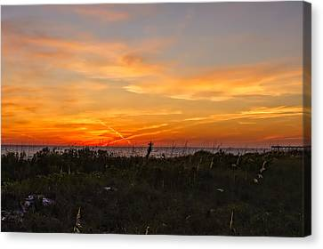 Southwest Florida Sunset Canvas Print - X Marks The Spot Sunset At The Pier  -  Xmkpier96 by Frank J Benz