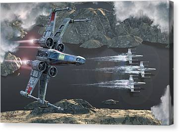 Jet Star Canvas Print - X-wing Along The River by Kurt Miller
