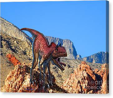 Xuanhanosarus In The Desert Canvas Print by Frank Wilson