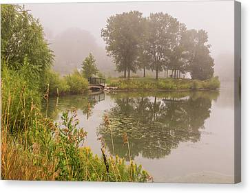 Misty Pond Bridge Reflection #5 Canvas Print