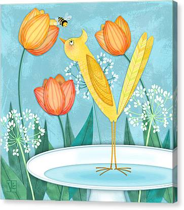 Y Is For Yellow Bird Canvas Print by Valerie Drake Lesiak