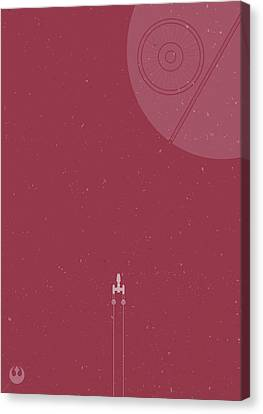 Y-wing Bomber Meets Death Star Canvas Print by Samuel Whitton