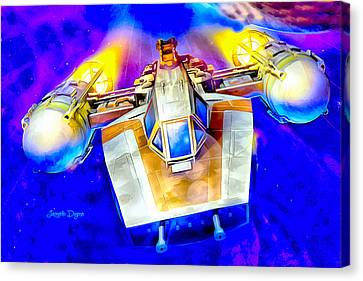 Times Canvas Print - Y-wing Fighter  - Watercolor Style -  - Da by Leonardo Digenio