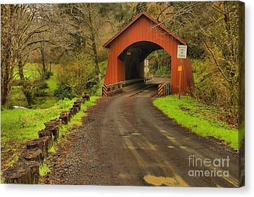 Yachats Covered Bridge Canvas Print by Adam Jewell