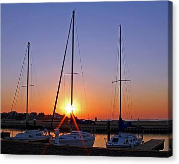 Canvas Print featuring the photograph Yacht Club Sunrise by Judy Vincent