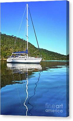 Canvas Print featuring the photograph Yacht Reflecting By Kaye Menner by Kaye Menner