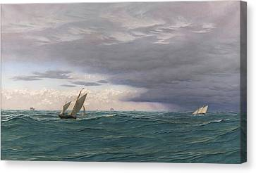 Yachts In A Seaway, Mediterranean, 1871 Canvas Print by John Brett