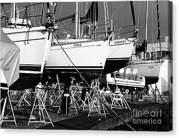 Yachts On Drydock Canvas Print by Gaspar Avila