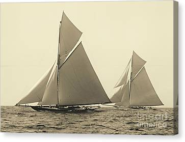 Yachts Valkyrie II And Vigilant Race For Americas Cup 1893 Canvas Print by Padre Art