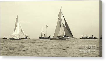 Yachts Valkyrie II And Vigilant Start Americas Cup Race 1893 Canvas Print by Padre Art