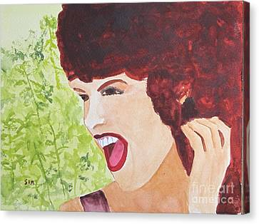 Canvas Print featuring the painting Yah by Sandy McIntire
