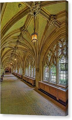 Canvas Print featuring the photograph Yale University Cloister Hallway II  by Susan Candelario