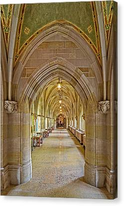 Canvas Print featuring the photograph Yale University Cloister Hallway by Susan Candelario
